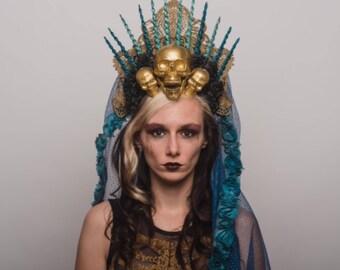 Virgin Mary Halo Day of the Dead Headpiece Gold Skulls Dia de los Muertos Headdress Blue Black Veil Mantilla Costume Blessed Mother