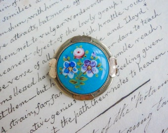 Victorian hand-enamelled blue glass brooch