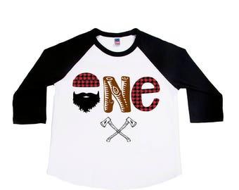 Lumberjack One Birthday Shirt - First Birthday Shirt - Buffalo Plaid Shirt - ONE Year Old - Toddler Birthday - Lumberjack Birthday