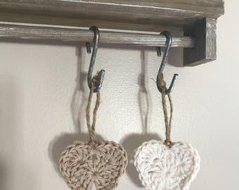 Crochet Christmas ornaments, stars and hearts