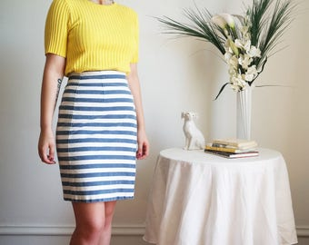 80s 90s striped denim wrap skirt size small 6 high waist pencil above knee retro secretary