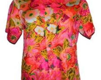 VTG Mens Hawaiian Casuals Stan Hicks Tropical Bright Colored Shirt Cruise S/M?