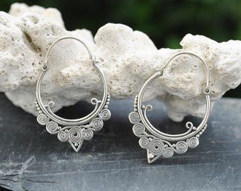 Hoops Silver plated brass earrings, Tribal earrings, Gypsy Hoop earrings, Vintage jewelry, Bohemian jewelry, Gifts for her