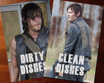 "Walking Dead Reversible Magnetic Dishwasher Sign | Geek Kitchen | Clean Dirty Magnet | ""Clean"" ""Dirty"" Daryl Dixon 