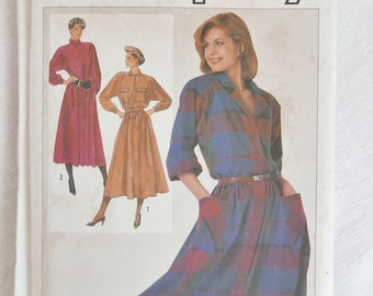 Vintage 1980s shirtdress pattern, Simplicity 7040, size 32.5, 34 and 36 inch bust, 1985, UNCUT