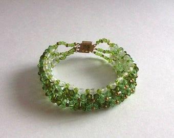 Bracelet swarovski green pearls