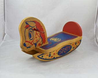 Vintage Gerber Wooden Rocking Horse, Spotty The Horse By Gerber With Jody
