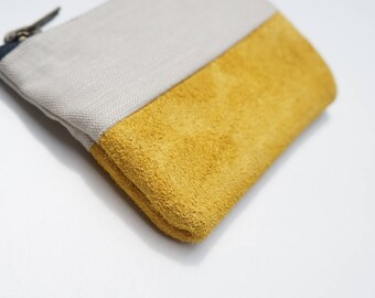 Yellow Leather & Stone Linen Mini Pouch. Coin Purse / Wallet.