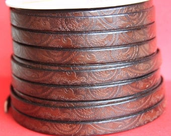 "MADE in EUROPE 24"" engraved 10mm leather cord, embossed flat leather cord, 10mm flat leather cord (503/10/37)"
