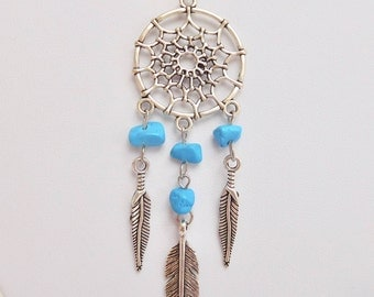 Silver & Turquoise Dreamcatcher Pendant on Black Faux Leather Necklace, Silver Necklace, Blue Necklace, Dream Catcher Jewelry, Gift For Her