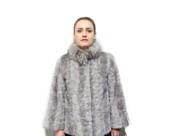 Sapphire Fur Coat Pieces with Fox Collar  F809