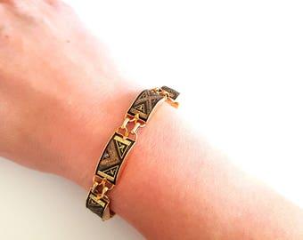 vintage Toledo bracelet, Damascene jewelry