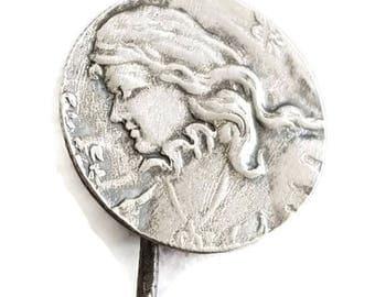antique Joan of Arc sterling silver hat pin, edwardian brooch