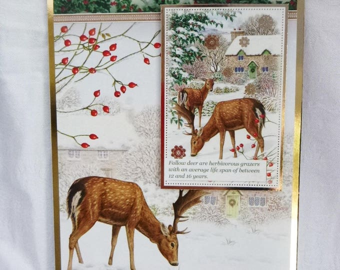 Fallow Deer Christmas Card, Greeting Card, Snow Scene, Male or Female, Any Age, Mum, Dad, Brother, Sister, Son, Daughter, Niece