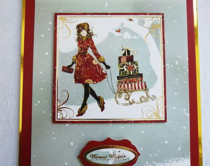 Christmas Card, Lady In The Snow, Greeting Card, Festive Scene, Female, Any Age, Mum, Sister, Daughter, Niece