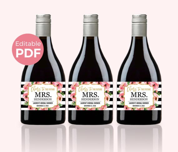Floral Mini Wine Bottle Labels PDF Kate Bridal Shower Wine Labels - Mini wine bottle labels templates