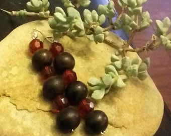 Earrings~Dangle~Drop~Wooden Beads~Cranberry Red~Silver Tone~Holiday Gifts