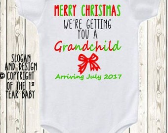 Christmas Pregnancy Announcement for parents Christmas baby Announcement Idea  Pregnancy reveal gift to Grandparents  ONESIE ® brand shirt