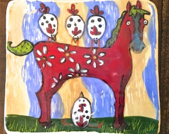 Horse Tile or Trivet, ceramic red horse tile with chickens folk art wall art wall hanging kitchen hot pad clay mono print handmade