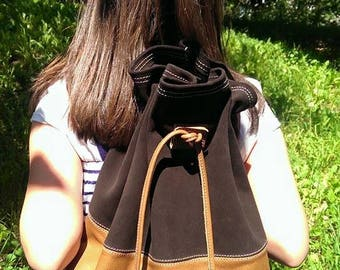 Real leather Handmade backpack, soft travel rucksack satchel, brown leather and suede backpack