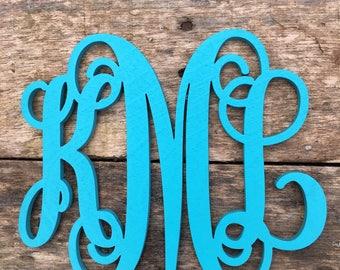 Rear view mirror script font monogram hanger, Painted monogram, car monogram, hanger for mirror, wood monogram, Car Charm
