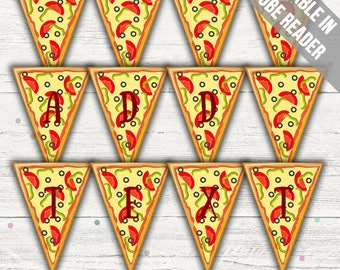 Pizza Party Banner (Pizza Party Decorations). Spell Any Message. Editable. Printable. Instant Download.