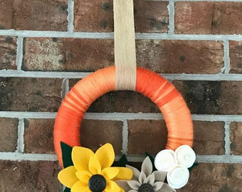 Fall Wreath | Orange Yarn Wrapped Wreath | Felt Flower Wreath | Indoor Wreath | Liberty Way Designs