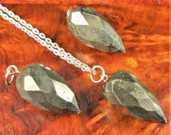 Iron Pyrite Necklace - Faceted Gemstone Point Pendulum Pendant - Fools Gold Teardrop Crystal Earrings (B41) Healing Crystals Stones Jewelry
