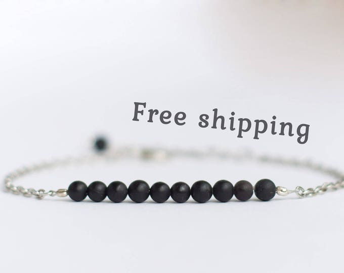 Shungite bracelet women, Shungite jewelry, Shungite stone bracelet, Beauty gift for women, Black bead bracelet