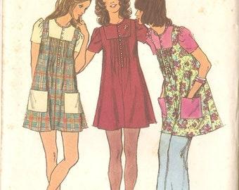 "Simplicity 5063 Misses' Mini Smock Dress 70's Dress Vintage Sewing Pattern - Size 12 Bust 34"""