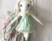 Reserved for C. Unicorn doll: handmade heirloom doll in blue-- 1st installment