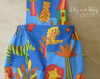 REDUCED - Size 12-18 months upcycled vintage style cotton romper/playsuit