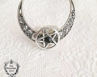 Silver wiccan half moon pentagram ring-gothic ring-moon ring-gothic wiccan jewelry-adjustable ring