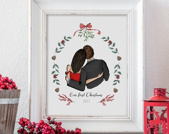 Married christmas gift - Christmas decorations for couples gift ideas - Newlywed christmas decoration - Holiday housewarming gift for couple