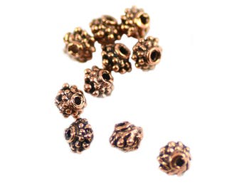 Bali Style Antiqued Copper Alloy Pewter Handmade Beads 4.5mm - Package of 10 Pieces
