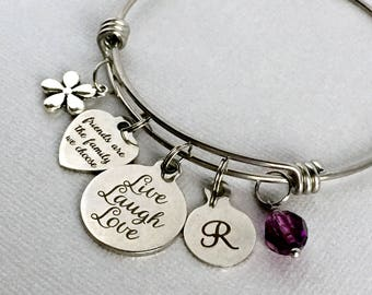 Live Laugh Love, Friends are the Family We Choose, Friend Charm Bangle, Gift for Best Friend, Personalized Bangle, Stainless Steel Bangle