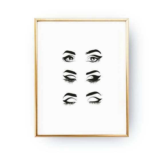 Line Drawing Etsy : Eyes print makeup illustration poster fashion
