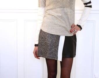 Skirt asymmetric bi material slightly flared black and white