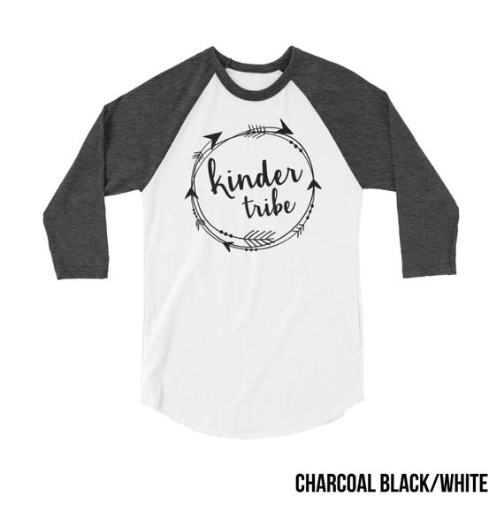 Kindergarten Tribe Teacher T-shirt | 3/4 Sleeve Raglan | Grade Level | Elementary & School Spirit