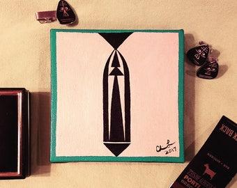 """Classy Gentleman"" [5x5"" acrylic on canvas]"