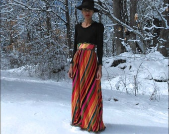 1970s maxi dress - Vintage maxi dress - 1970s dress - Multicolored dress - Long sleeve maxi dress