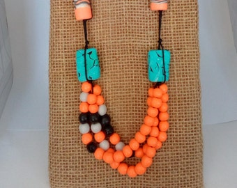 Polymer clay jewelry,Polymer clay necklace,Colorful jewelry,Summer jewelry,Wearable Art jewelry gift,Boho style jewelry,Orange long necklace