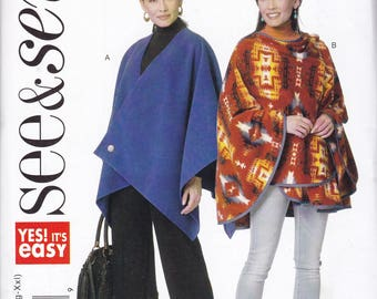 Free Us Ship Sewing Pattern Butterick 6235 Easy See & Sew Out of Print Fleece Sports Team Poncho Cape All Sizes Bust 29-48