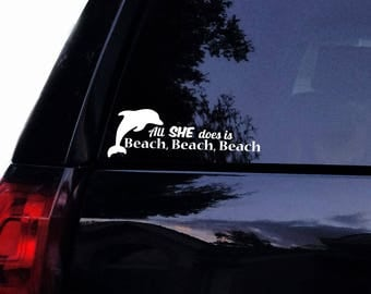 BEACH Life Palm Tree Beach Vinyl Car Decal Laptop Decal - Beach vinyl decals