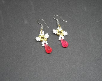 White seed beads, pearls, gold plated earrings
