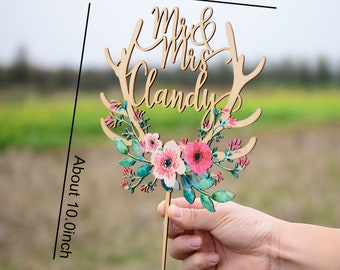 Customized Cake Topper for Wedding, Personalized Wedding Cake Topper with Colorful Floral Wreath, Custom Calligraphy Name Cake Topper VU011