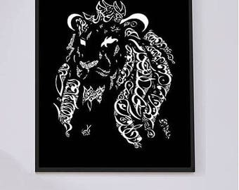 Arabic Calligraphy Lion Print - Imam Ali Ibn Abi Talib Poetry - Middle Eastern Art - Arabic Wall Art - White on Black