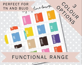FOLDOVER MONTHLY TABS - Functional Stickers - Planner Stickers Matt