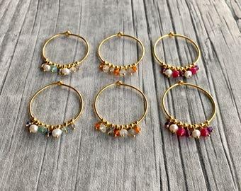 Multi colour beaded Hoops: Gold Vermeil