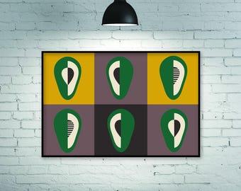 Avocado, art print, horizontal wall art, kitchen wall art, kitchen art print, kitchen poster, kitchen print, horizontal print, large print